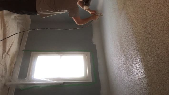 Spraying popcorn ceilings white